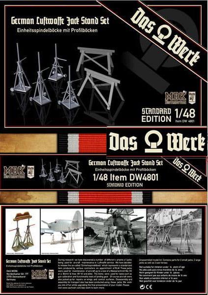 Das Werk No. DW-48001 - Luftwaffe Jack Stand Set - Einheitsspindelböcke / 1:48 | Diorama