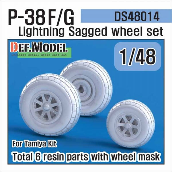 Def.Model P-38 F/G Lightning Sagged Wheel set (for TAMIYA) / 1:48