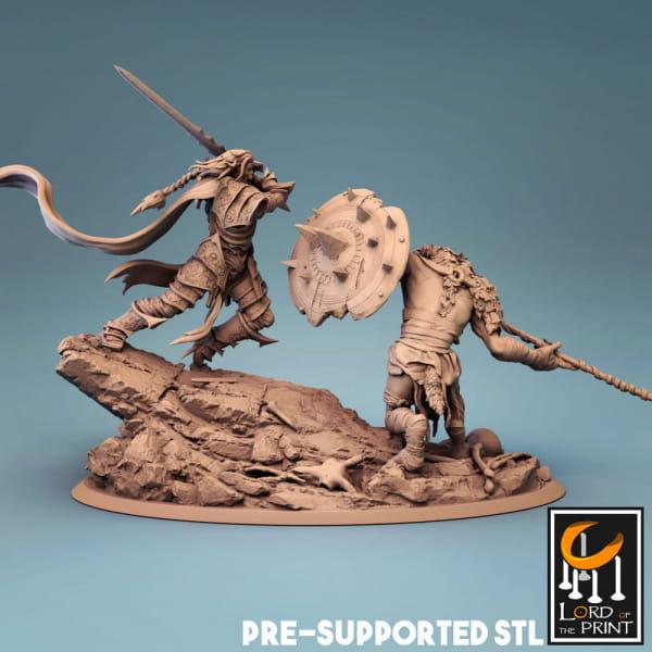 Necromancer vs. Humanoid Rat -Full Diorama-