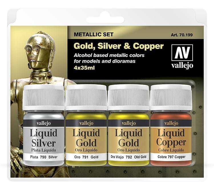 Gold Liquid Dye : Vallejo model color liquid gold set ml