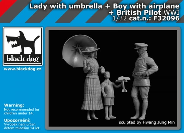Lady with umbrella+boy with airplane+british pilot WW I / 1:32