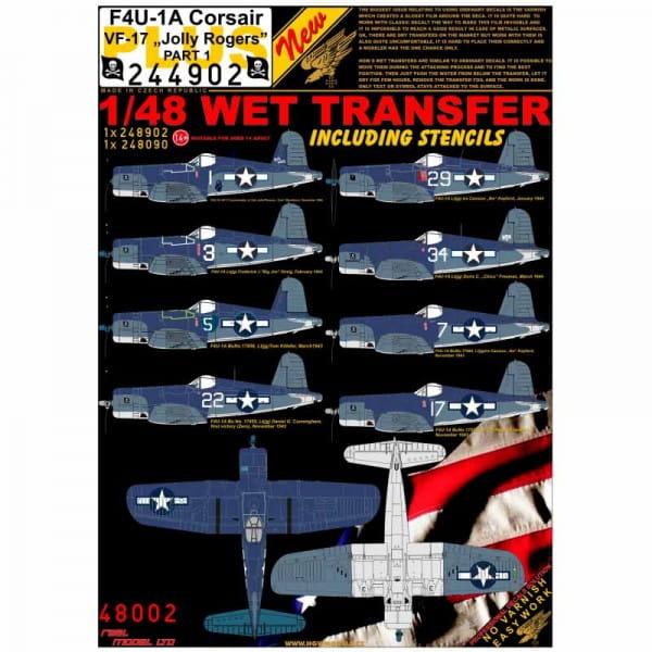 HGW Decals Wet Transfers: F4U-1A Corsair VF-17