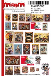 Pin - Ups + Bikes Poster (self adhesive Stickers) / 1:35 - 1:16
