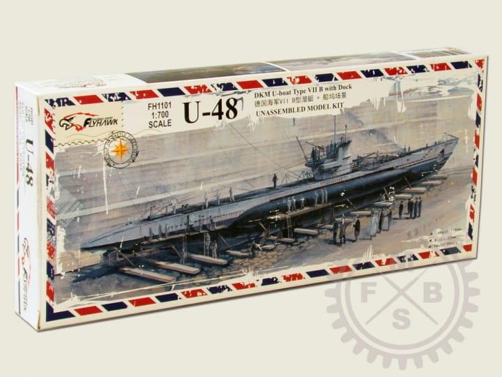 U-boat Type VII B DKM U-48 + Dock Scene / 1:700