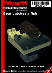 Bear catches a fish + full Diorama Base / 1:35