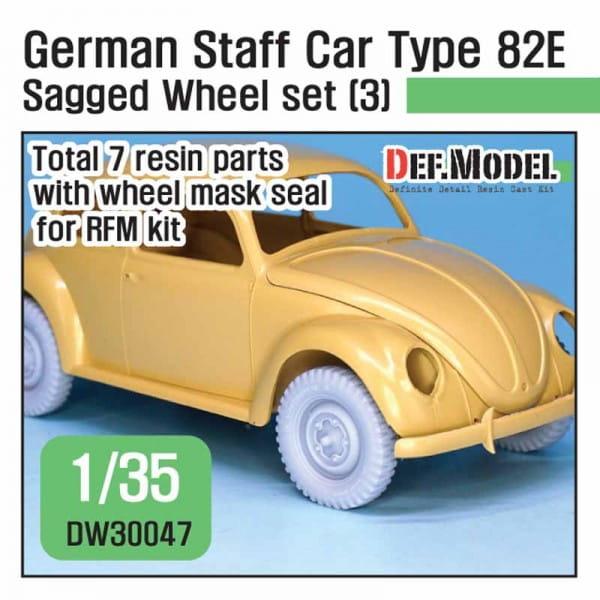 Def.Model WWII German staff car Type 82E Wide Wheel set (3) - for RyeField / 1:35