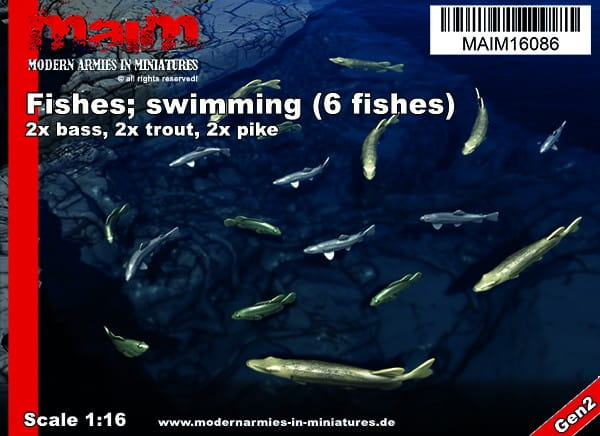 MAiM / Front46 Fishes; swimming (6pcs) - Pike / Trout / Bass / 1:16