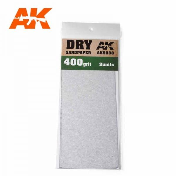 AK Interactive Dry Sandpaper 400 Grit. 3 units