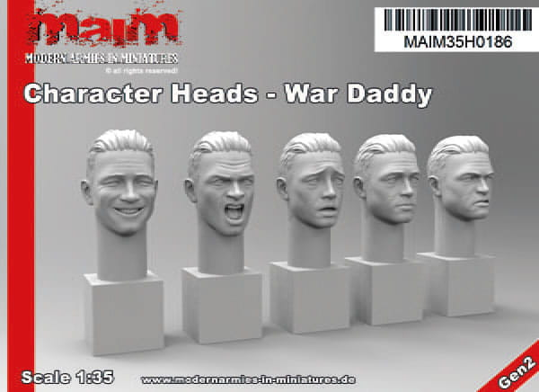 Character Heads - War Daddy with 5 different emotions (5 Heads) / 1:35