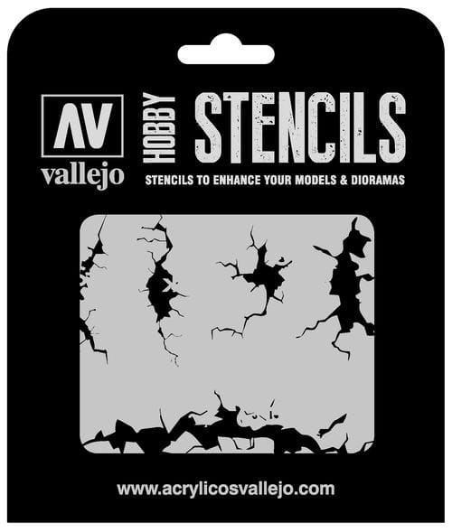 Vallejo Hobby Stencils: Cracked Wall - 1:35