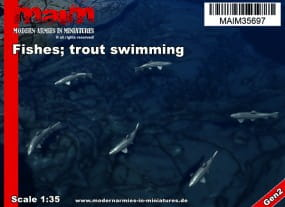 Fishes; swimming (6pcs) - Trout - Forelle / 1:35