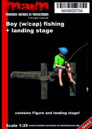 Boy fishing + small landing stage / 1:35