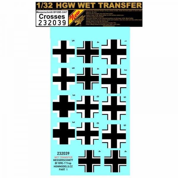 HGW Decals WET TRANSFER: Bf109 E-3/4/7 - crosses / 1:32